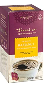 Teeccino Hazelnut Herbal Coffee is a healthy coffee alternative that's caffeine-free and acid-free