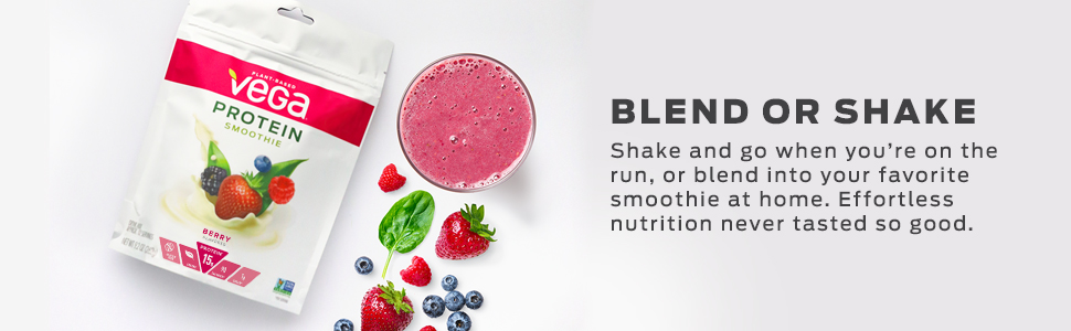 Vega Protein Smoothie is in a convenient pouch for traveling and taking on the go. Blend or shake.