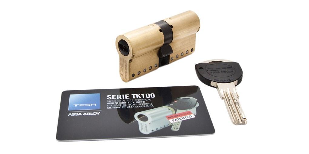 Tesa Assa Abloy MK154040N, Cilindro de Alta Seguridad Patentado TK100 de leva corta, 40x40mm, Niquelado