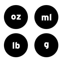 Etekcity kitchen scale can measure in oz, g, lb:oz, mL,