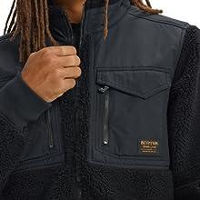 winter fleece storm flap xip up sweatshirt sweater warm comfort media pocket audio rib knit lifetime