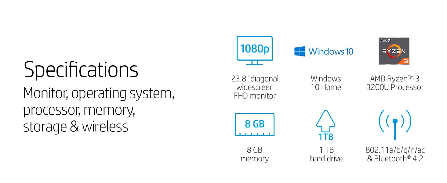 Amazon Com Hp 24 Inch All In One Computer Amd Ryzen 3 3200u Processor 8 Gb Ram 1 Tb Hard Drive Windows 10 Home 24 F1030 White Computers Accessories