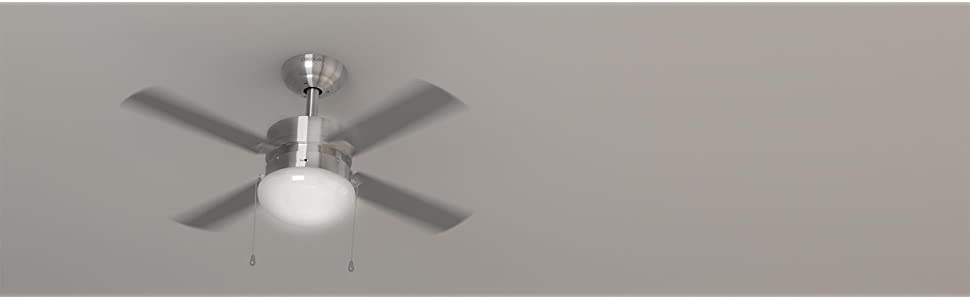 """Cecotec ForceSilence Aero 450 Ventilador de Techo 42"""" / 106 cm, 4 aspas, 50 W, 3 velocidades, con Lámpara, Color Gris"""