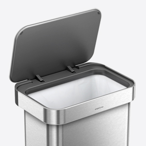 simplehuman 45 Liter / 12 Gallon Stainless Steel Rectangular Kitchen Step Trash Can with Liner Pocket, White Steel