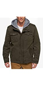 Levis Mens Washed Cotton Two Pocket Military Jacket at ...