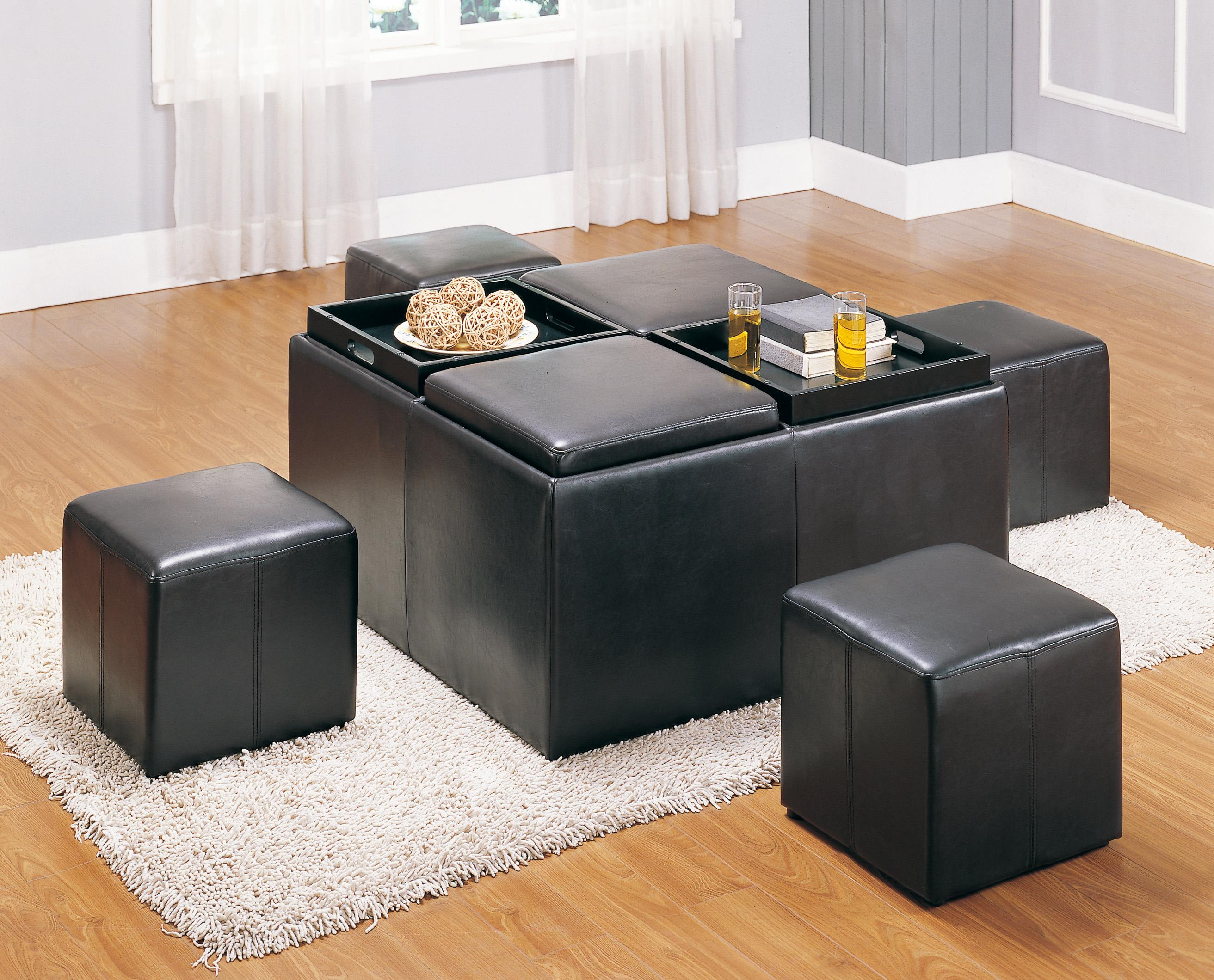 Homelegance 470pu Claire Cocktail Table With Four Serving
