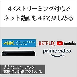 4Kストリーミング対応      ネット動画配信も4Kの高画質で楽しめる
