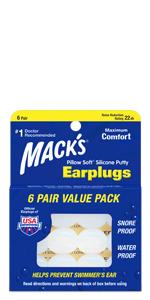 macks, silicone, ear plugs, earplugs, waterproof, noise reduction, sleeping, snoring, loud events