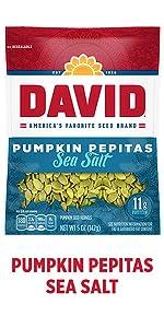 DAVIDs salted and roasted pumpkin pepita seeds
