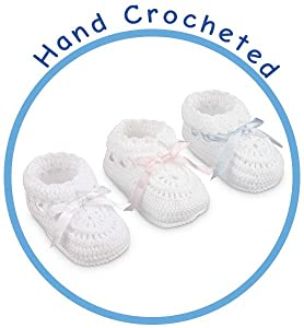 54d4593cc22 Amazon.com  Jefferies Socks Baby-Girls Infant Hand Crochet Bootie ...