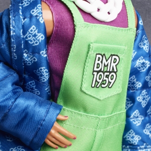 Barbie BMR1959 Ken Fully Poseable Fashion Doll with Neon Hair, in Neon Overalls and Puffer Jacket