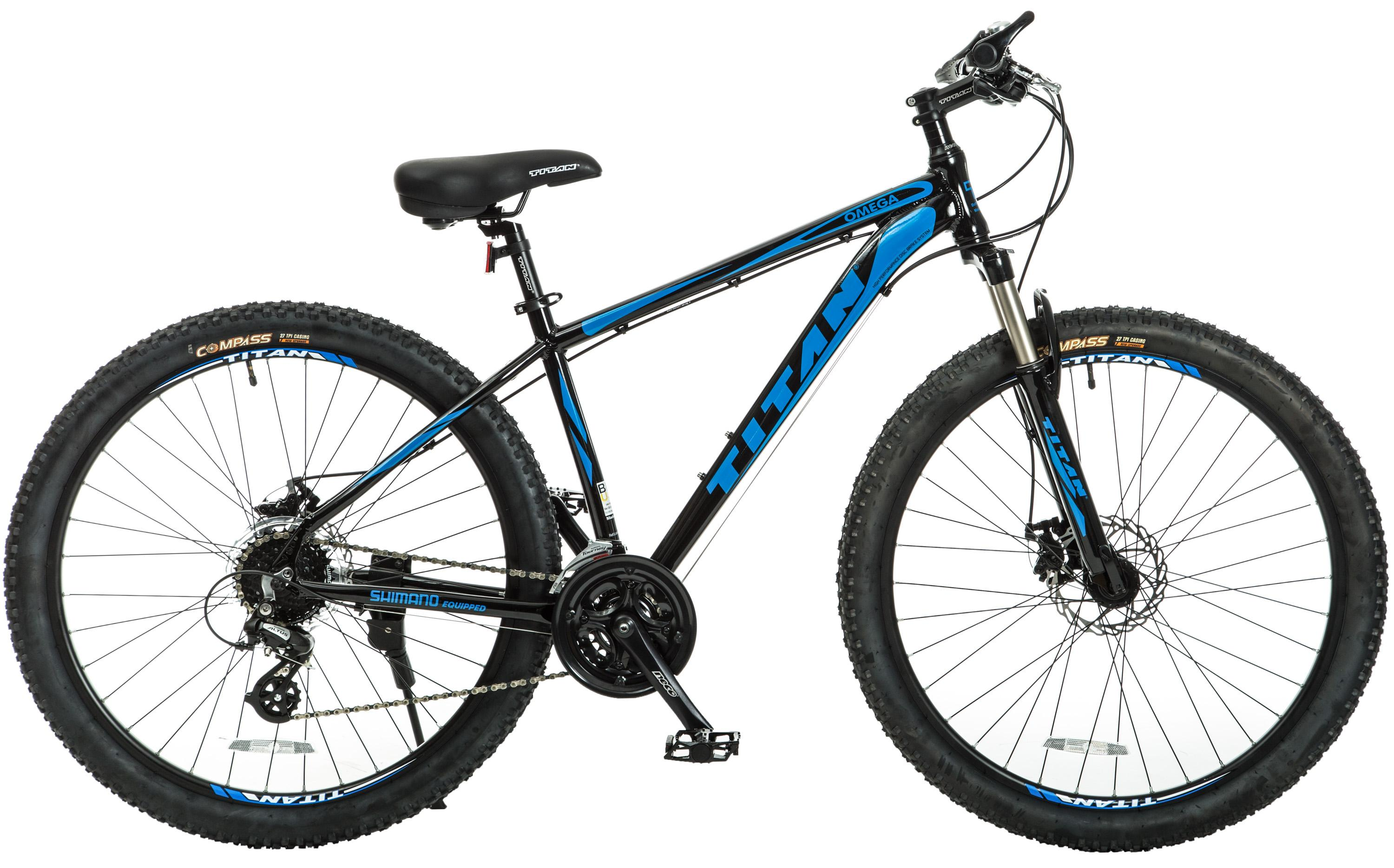 Titan Omega Alloy-Frame Mountain Bike with Front-Suspension, 17-Inch ...