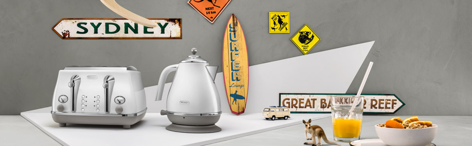 icona capitals; delonghi; toaster and kettle set