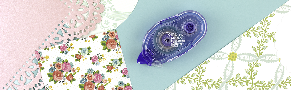 tombow mono permanent adhesive applicator, double-sided tape with strong bond. photo-safe