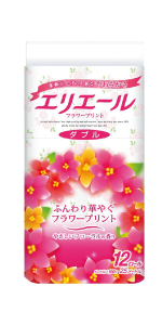 エリエール トイレットペーパー フラワープリント 25m×12ロール ダブル パルプ100% 優雅な花の香り