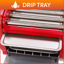 Removable Drip Tray Catches grease from hot dog for easy cleaning.