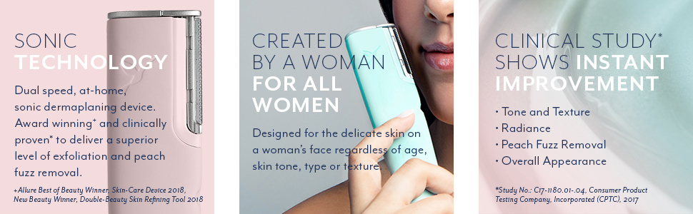 sonic technology dual speed at home dermaplaning device award winning exfoliating peach fuzz removal