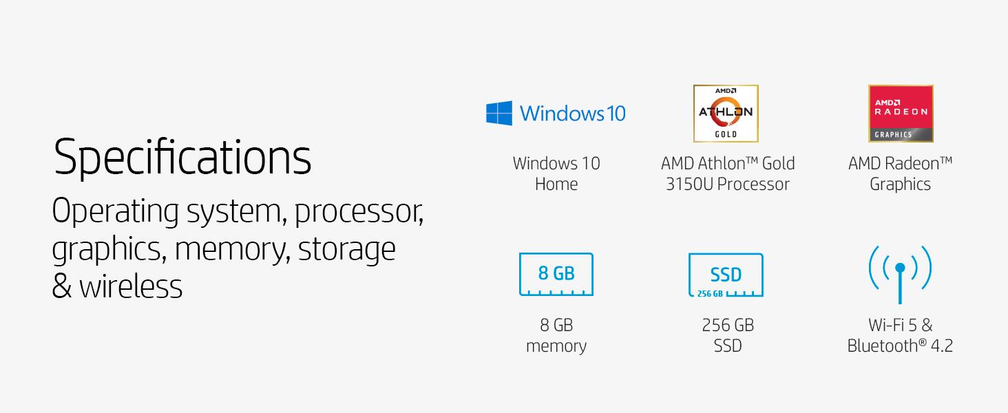 Specifications AMD Athlon Gold processor memory hard drive SSD bluetooth Wi-Fi