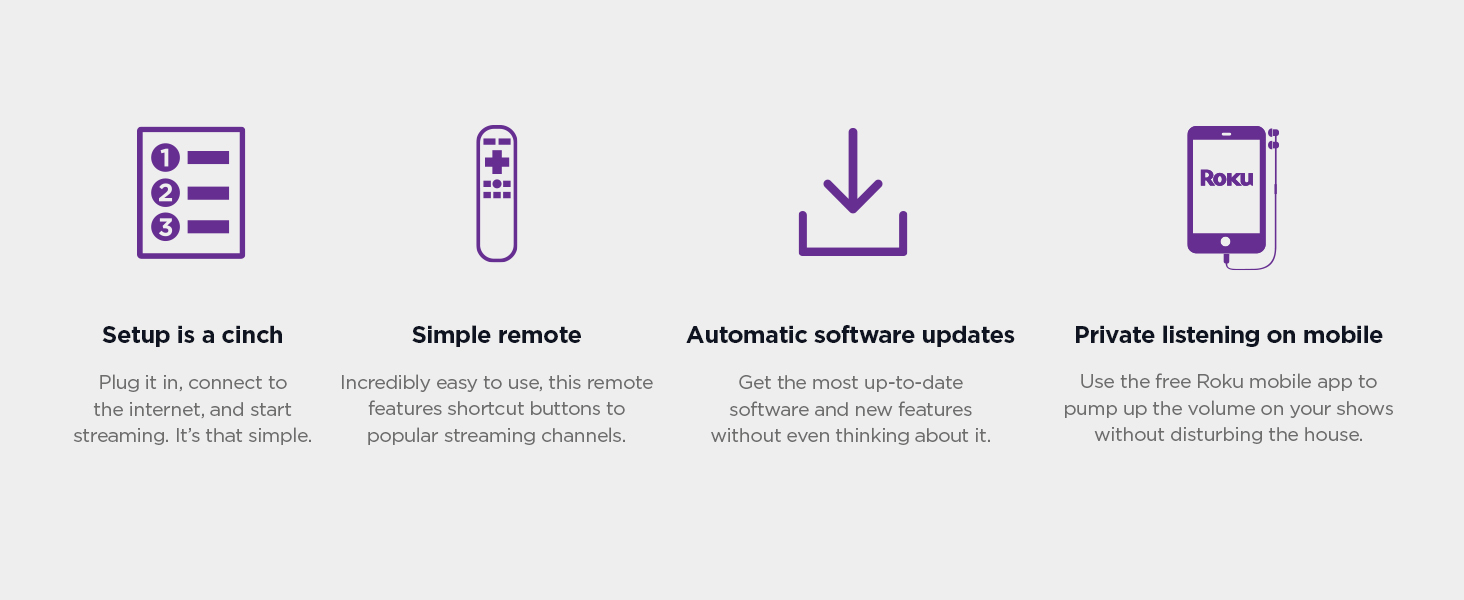 Roku express setup is a cinch, simple remote, automatic software update, private listening on mobile