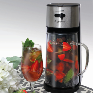 iced, tea, coffee,fruit, iced tea maker, ice, glass, stainless steal, capresso, variety, drinks,cold