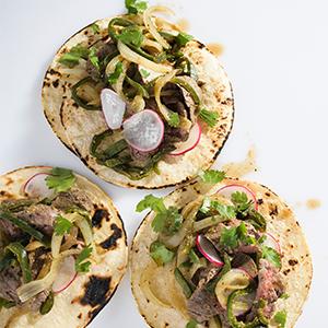 skirt steak tacos chili poblano mexican food tortilla cumin recipe dinner weeknight milk street