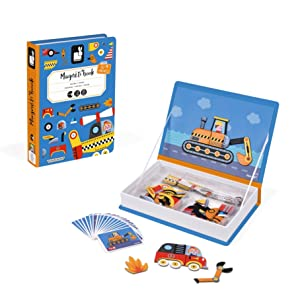 Janod MagnetiBook 69 pc Magnetic Racer Vehicles Game