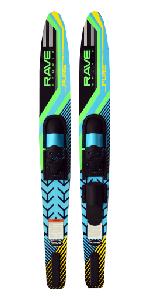 pure combo skis, water skis, slalom ski, intermediate ski, rave sports, water sports, extreme sport