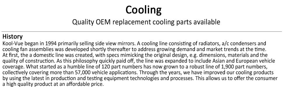 Quality OEM cooling parts radiators condensors