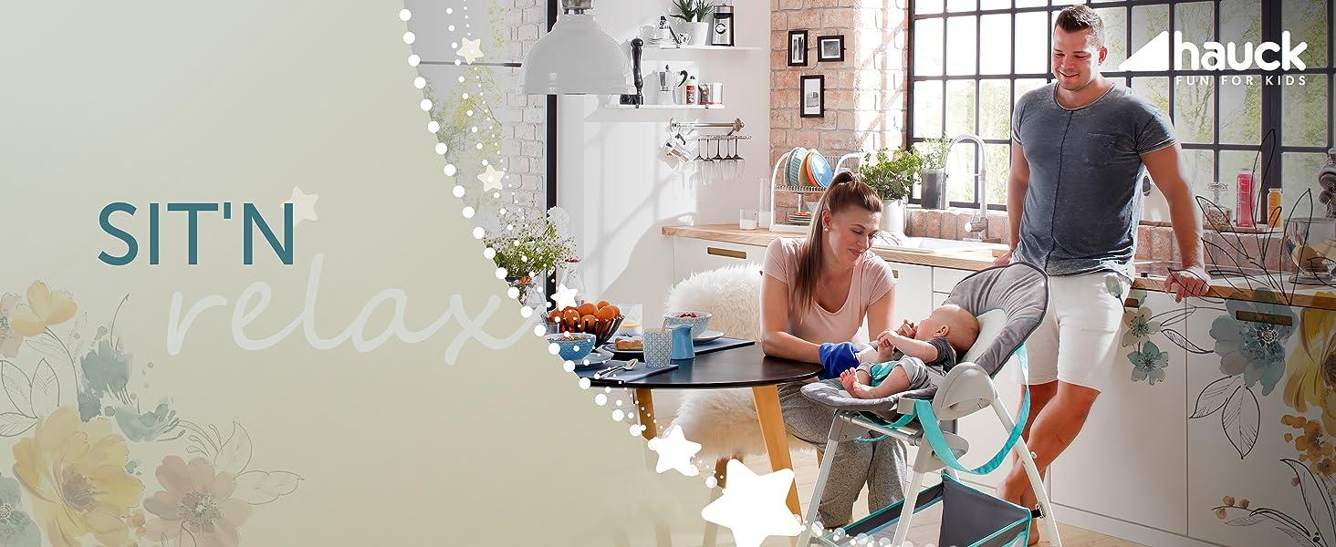 Sit N Relax Sit and Relax Hochstuhl hauck von Geburt an für Babys bis 9 kg Hochstuhlkombination