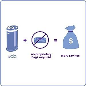 Graphic showing Ubbi diaper pail + no proprietary bags = more savings