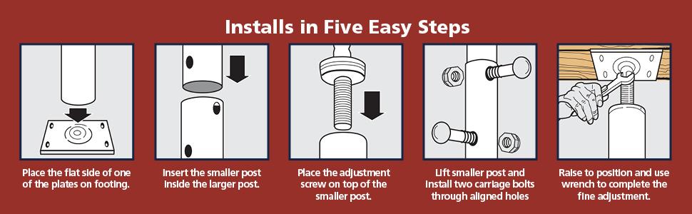 screw jack house floor lally column shoring post cabinet support jacks deck ceiling adjustable