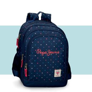 mochila escolar azul para chica pepe jeans