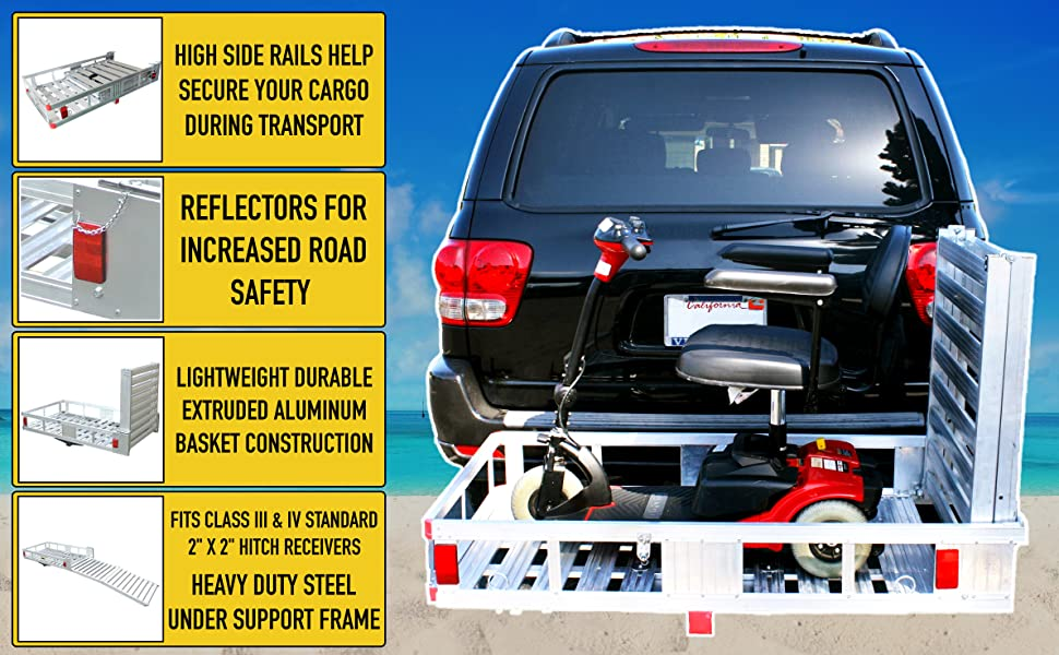 Aluminum Cargo Carrier, reese, Curt, GoFlame, Traveling, outdoors, camping, vacation, hauling towing