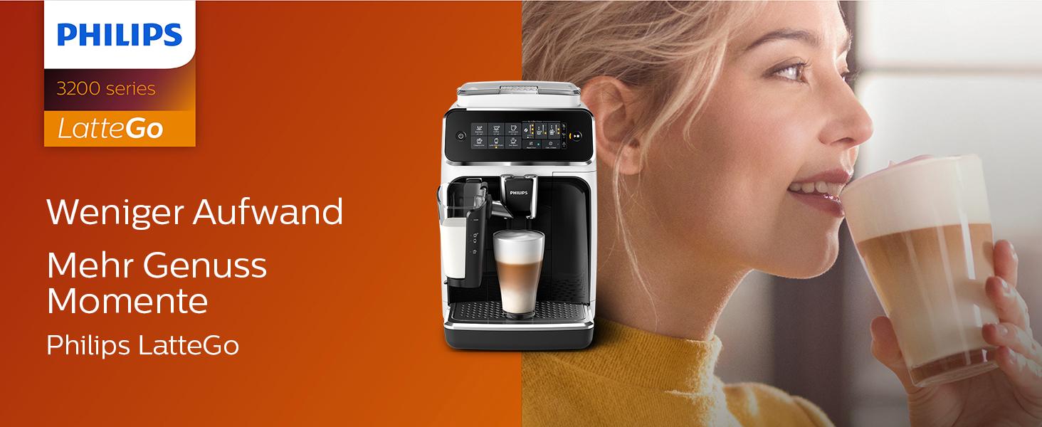 Philips 3200 Serie EP324350 Kaffeevollautomat, 5 Kaffeespezialitäten (LatteGo Milchsystem) WeißKlavierlack schwarz