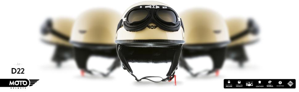 in fibra di vetro colore: crema giallo Moto Helmets modello: D22-Set Casco da moto jet motorini per scooter motocicli stile vintage retro