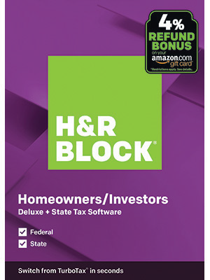 H&R Block Deluxe + State Tax Software, Homeowners and Investors, Purple Box