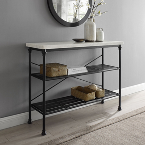 Amazon Com Crosley Furniture Madeleine Console Table Steel With Faux Marble Top Furniture Decor