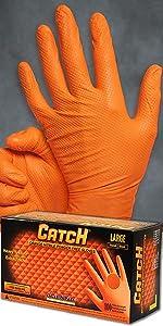 Catch Nitrile Orange Disposable Gloves Raised Pyramid Texture 8mil Adenna