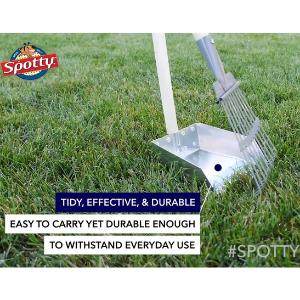 Spotty Pooper Scooper Durable Solid Wood Handle Metal Poop Tray with Rake