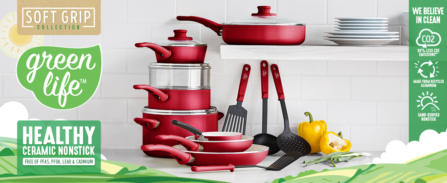 GreenLife, nonstick cookware, pots and pans, stay cool handle, healthy, clean cooking, recycled PFAS