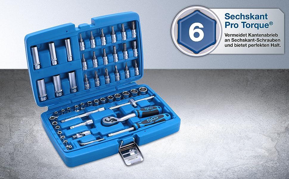 BGS Steckschlüssel-Satz Antrieb 6,3 mm 1//4 Zoll 53-teilig Chrom Vanadium 2147