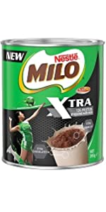 MILO, XTRA, MALT CHOC, POWDER, DRINK, CHOCOLATE FLAVOUR WITH MILK, REDUCED SUGAR