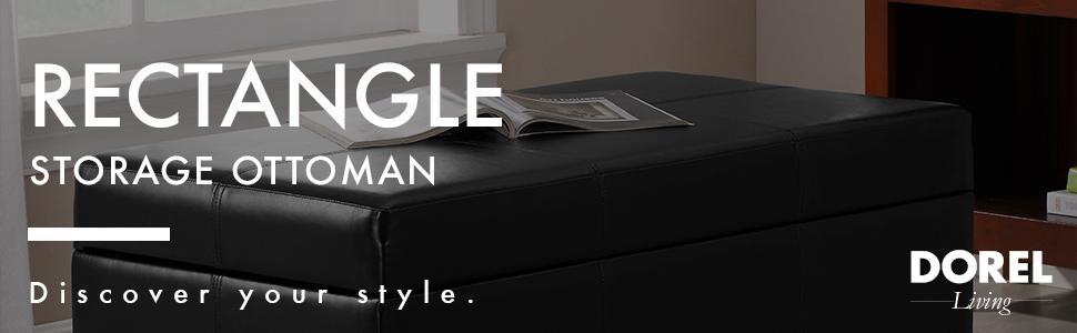 Dorel Living Rectangle Storage Ottoman