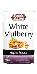 White Mulberries - Organic, Plant-Based - Tastes like candy - soft and chewy