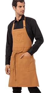 Chef Works Unisex Rockford Bib Apron, Nutmeg