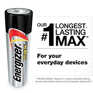 Our longest lasting Max battery, For your everyday devices like Cameras, Scales, Radios, TV remotes