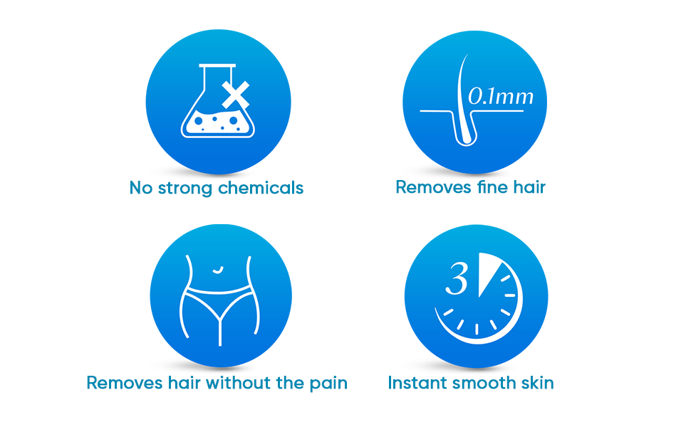 No Strong Chemicals Removes fine hair removes hair without pain instant smooth skin