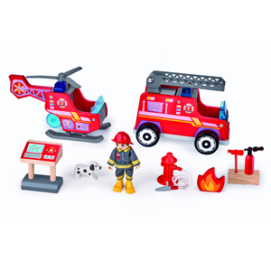 Firefighter with two vehicles