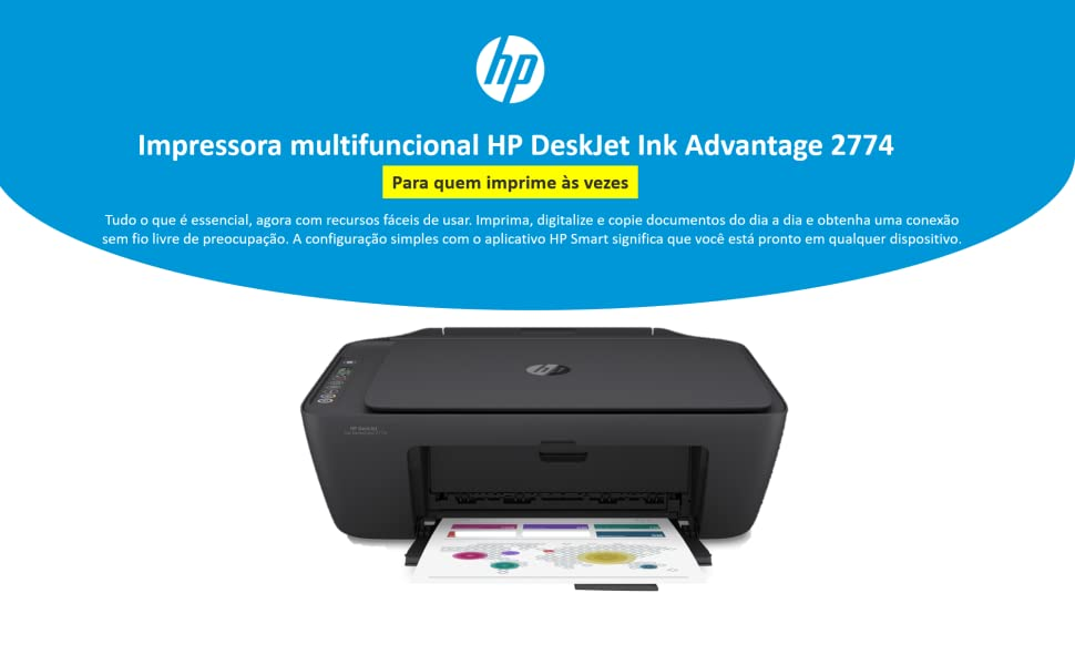 Impressora multifuncional HP DeskJet Ink Advantage 2774 7FR20A sem fio wifi wi-fi