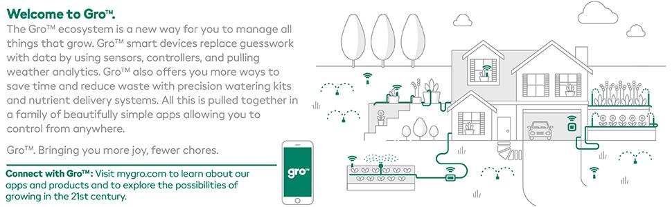 Gro 7 Zone Controller from Scotts|Works With Alexa /& Google Assistant|Easily Control Water For Up To 7 Zones|Uses Real Time Weather Data To Automatically Adjust Watering Schedule /& Reduce Water Waste
